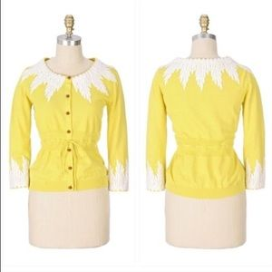 Anthropologie Moth Wisteria Yellow Cardigan